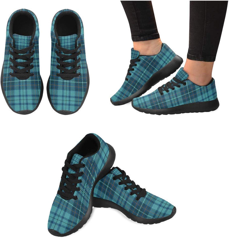 InterestPrint Women Lightweight Casual Sneaker Running shoes Scottish Plaid Prints