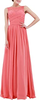 TiaoBug Women's Floral Lace Chiffon Bridesmaid Gown Long Evening Cocktail Prom Dress