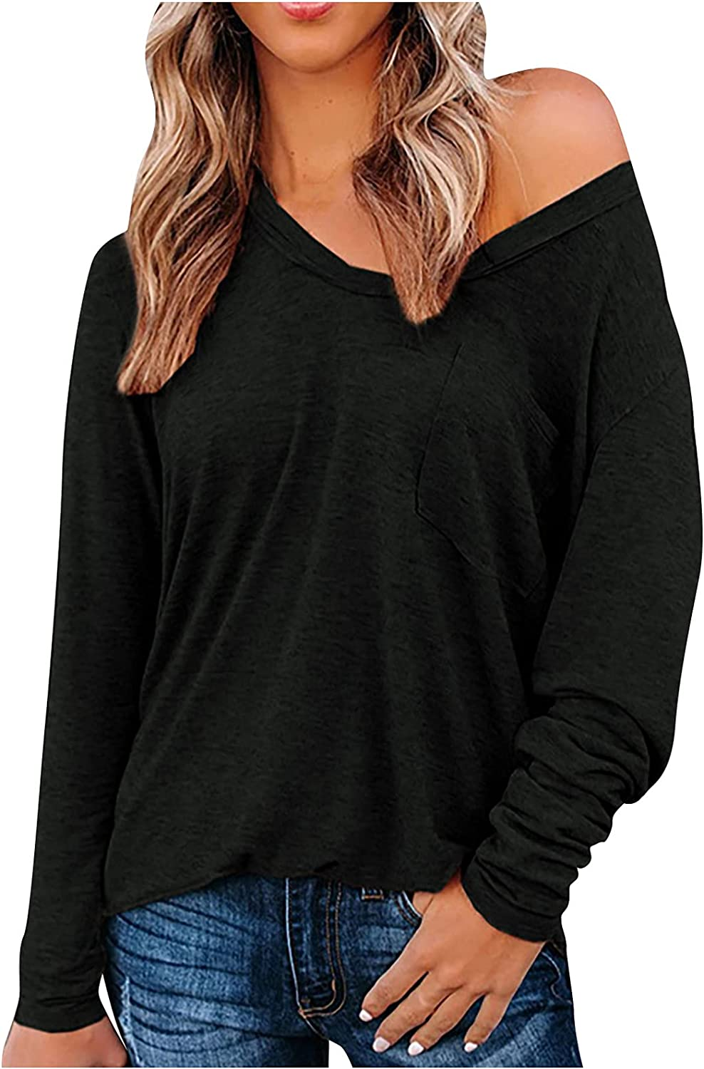 RFNIU Polo Shirts For Women Fall Casual Sexy Comfly V-Neck Pullover Tops Trendy Solid Color Long Sleeve Blouses