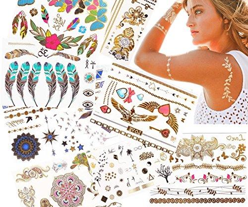 JZK Non tossico Impermeabile Oltre 100 Tipi Imitate-Metallico Tatuaggi temporanei Adesivi Tatoo Finti Removibili per Bambini Adulti Donna Uomo