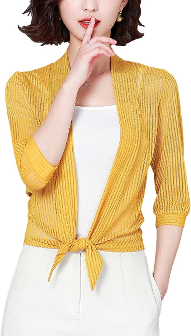 SeekMe Women's Half Sleeve Striped Shrug Cardigan Sheer Mesh Knot Bolero Jacket