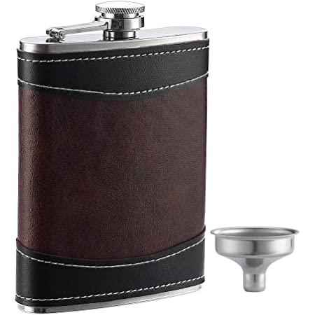 Visol Braw Leather And Plaid Stainless Steel Flask Gift Set 6 Ounce Brown Alcohol And Spirits Flasks Kitchen Dining