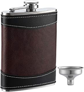 YWQ Premium 1 Pack 8 Oz Hip Flask for Liquor Soft Touch Leather Wrap with Funnel,18/8 Stainless Steel Highest Food Grade Leak Proof Classic Flask