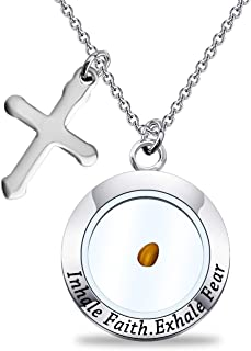POTIY Real Mustard Seed Pendant Necklace Faith Bracelet Bible Verse Jewelry Inspirational Gift for Christian Women