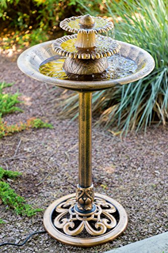 Alpine Corporation 3-Tiered Pedestal Water Fountain and Bird Bath - Resin Vintage Decor for Garden, Patio, Deck, Porch - Bronze