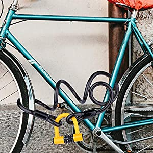 BIGLUFU Candado en U,U Lock Candado Bicicleta Acero Trenzado, Cierre de 12 mm de Grosor,antirrobo de Alta Seguridad,Soporte de Montaje Resistente y Recubierto de Vinilo Flexible (1.2m/4ft,Amarillo)