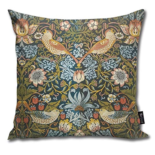 BlueBling Fashion Funny Throw Pillow Covers William Morris Pattern Birds and Flowers Printed 18 x 18 Inches Cases Cushion Cover Pillowcases for Home,Indoor,Bed,Gard