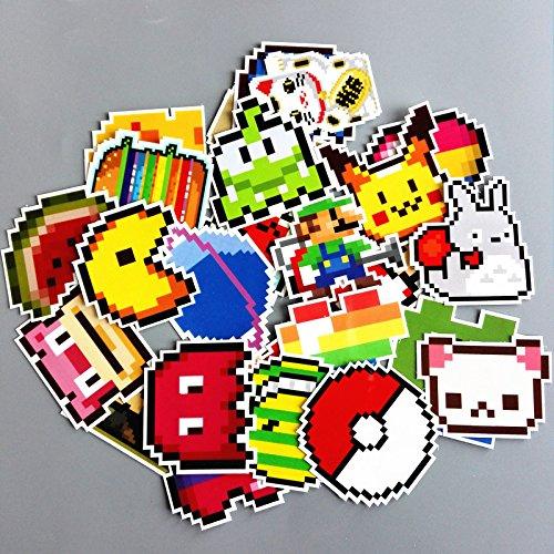 BLOUR Neue 25pcs / Pack wasserdichte Cartoon Pixel Pokémon Aufkleber Skateboard Koffer Gitarre Gepäck Laptop Laptop Aufkleber Classic Toy