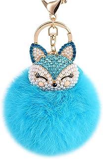 Boseen Genuine Rabbit Fur Ball Pom Pom Keychain with A fashion Alloy Fox Head Studded with Synthetic Diamonds(Rhinestone) ...