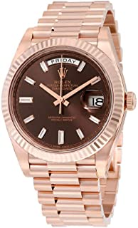 Day-Date 40 Automatic Chocolate Baguette Diamond Dial 18kt Everose Gold Mens Watch 228235CHDP