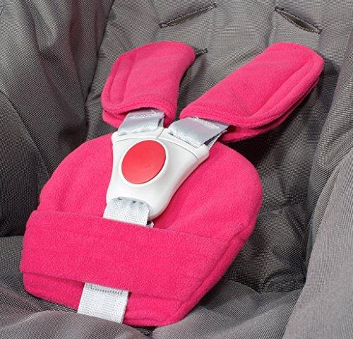 ByBoom - Gurtpolster Set - universal für Babyschale, Buggy, Kinderwagen, Autositz (z.B. Maxi Cosi City SPS, Cabrio, Cybex Aton usw.); In vielen Farben; MADE IN EU, Farbe:Fuchsia