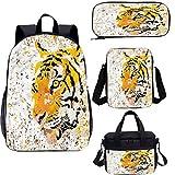 Animal 15 pulgadas mochila con bolsa de almuerzo,Juego de estuches,Vector Wildlife Tiger 4 en 1 conjuntos de mochila