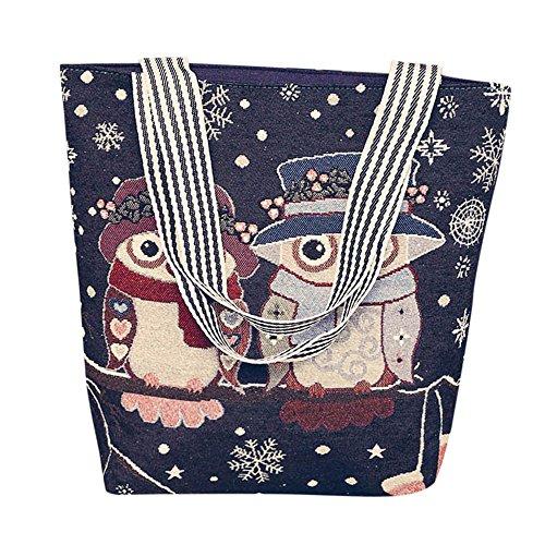 Anliyou Taschen Tote Bag mit Eule Muster Shopper Damen Groß Stofftasche mit Reisverschluß Jutetasche Colorblock Handtasche mit weit Taschenriemen Stoffbeutel Segeltasche Schuhltertasche