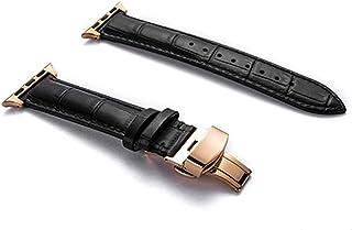 ZAALFC Correa de Cuero Genuino for la Banda de Reloj de Apple 44 mm 40 mm for Banda de iWatch 42mm 38mm Pulsera de cocodri...