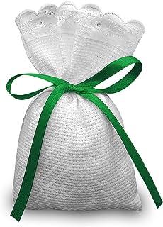 Crociedelizie, Stock 25 sacchetti bomboniere portaconfetti segnaposto in tela aida rifinitura in pizzo sangallo da ricamar...