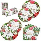 Aneco Vajilla de 122 piezas para fiesta de Navidad, diseño de flores, vajilla de papel desechable para fiesta de Navidad para 24 invitados