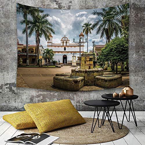 Tapestry,Hippie Tapiz,tapiz de pared con decoración para el hogar,Decoración de viaje, Plaza de Armas de la ciudad de Copan Ruinas Hondura,para picnic Mantel o Toalla de Playa redonda 180 x 230 cm