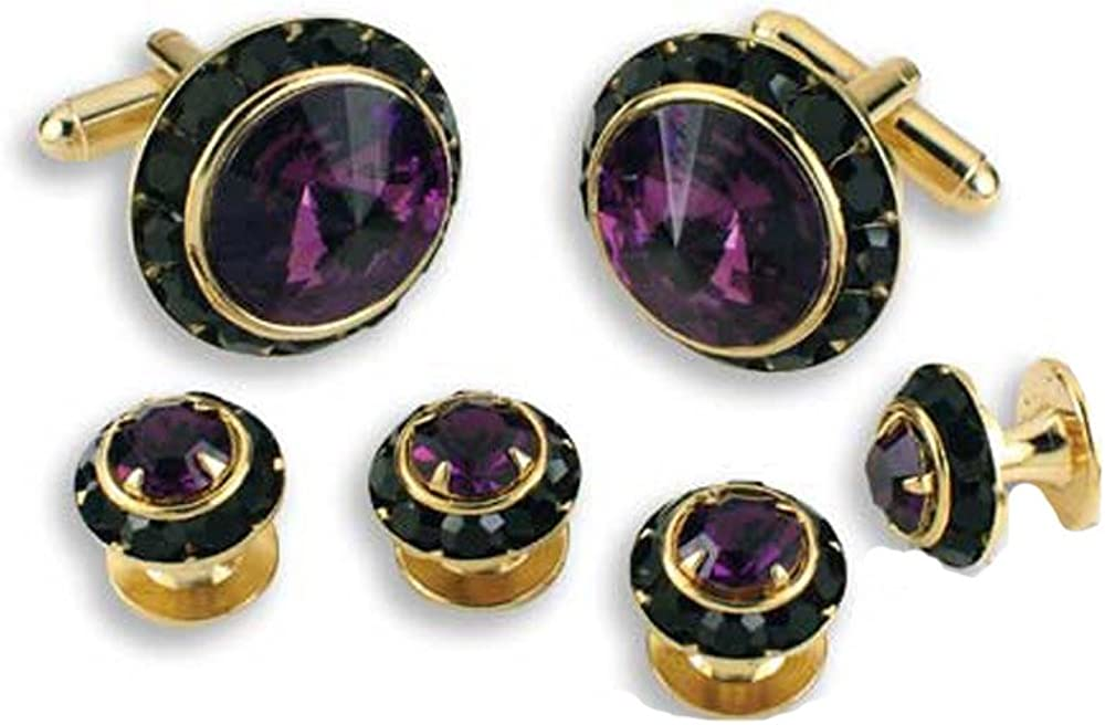 EZ Tuxedo Crystal Cufflinks and Studs with Amethyst Center and Black Trim