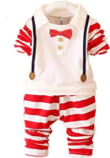2Pcs/Set Baby Boys Shirt Tops Pants Set Kids Boys Clothes Set Outfits Stripe Tee Top Trouser