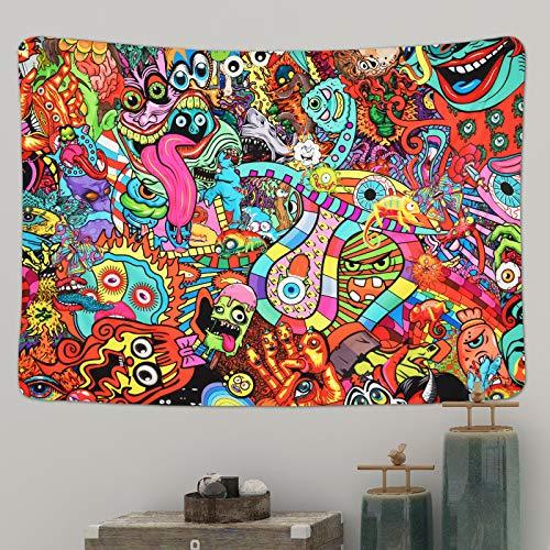 Yugarlibi Hippie Monsters Wandteppiche, Bunte Abstrakte Moderne Wandbehang Decke, Trippy Dekorative Tapisserie für Schlafzimmer Wohnheim, 210x150cm
