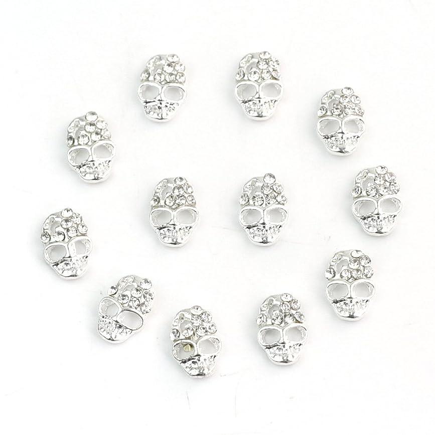 便宜織る奇跡的なReFaxi ネイルステッカーの12個 合金ラインストーン スカル 銀色