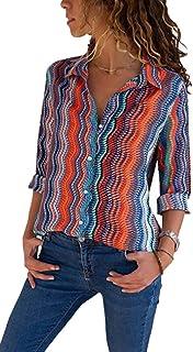 chenshiba-JP レディースロングスリーブファッションクラシックプリントスリムボタンダウンシャツ