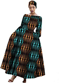 Afripride African Classic Style Ankara Dresses for Women Fit and Flare Ankle Length Cotton Dress AA722559