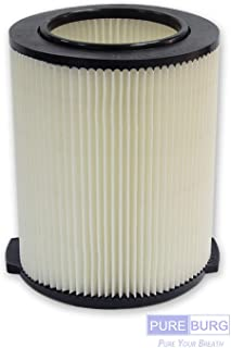 Pureburg 1-Pack Vac Filter for Ridgid VF4000 72947 Wet/Dry 5 to 20 Gal Shop Vac Also fits Husky 6-9 Gal WD5500 WD0671 RV2400A RV2600B WD06700 WD09450
