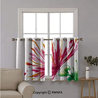 Fashion Window Valances Curtain Panel Home,Opened Out Asiatic Oriental Lily Freesia Florets Home,Top Window Treatments Short Curtains Tier,42