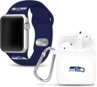 GAME TIME Seattle Seahawks Silicone Watch Band and Case Cover Combo Package Compatible with Apple Watch and AirPods Batter...
