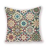 Funda Cojine Funda Almohada Fundas de almohada con diseño de flor de Mandala, cojines de tartán bohemios para el hogar para sofá, fundas de almohada decorativas circulares, fundas de cojines de cama