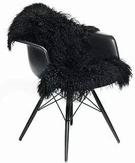 Genuine Tibetan Rug, Mongolian Lamb Sheepskin Curly Fur Pelt Throw Fur Area Rug Carpet Chair Cover with Super Fluffy Thick Decorativeas Throw Rug in Bedroom, Living Room,Black