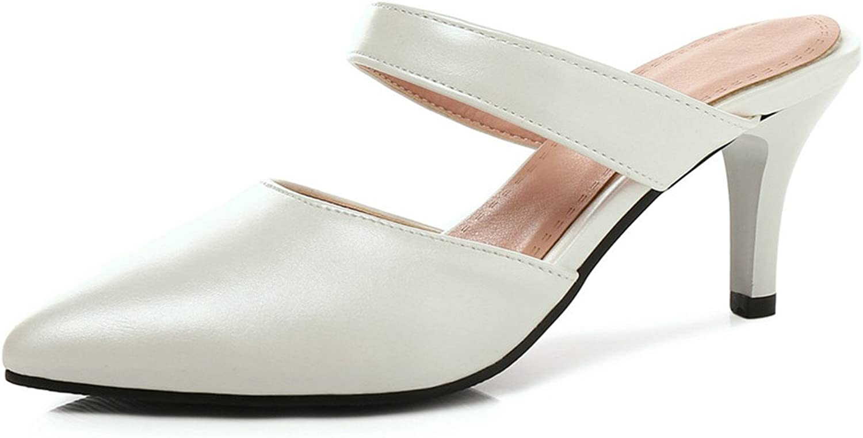 High Heels 7cm Closed Toe Women Mules Beach Slippers Slides Thin High Heel Flip Flops White 4
