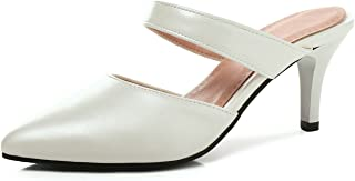 High Heels 7cm Closed Toe Women Mules Beach Slippers Slides Thin High Heel Flip Flops