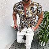 Camisa de Cuadros Fashion Short Sleeve Casual Shirt Men's Print Beach Blouse Summer ClothingShirt Male Clothes Plus Size L BE4