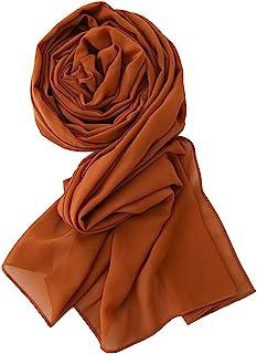 Yeieeo Chiffon Head Wraps for Women - Solid Color Fashion Bubble Chiffon Scarf Hijab