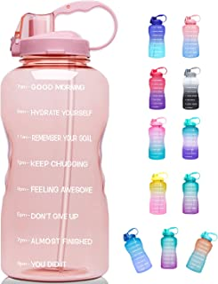 Sponsored Ad - Giotto Large 1 Gallon/128oz (When Full) Motivational Water Bottle with Time Marker & Straw, Leakproof Trita...