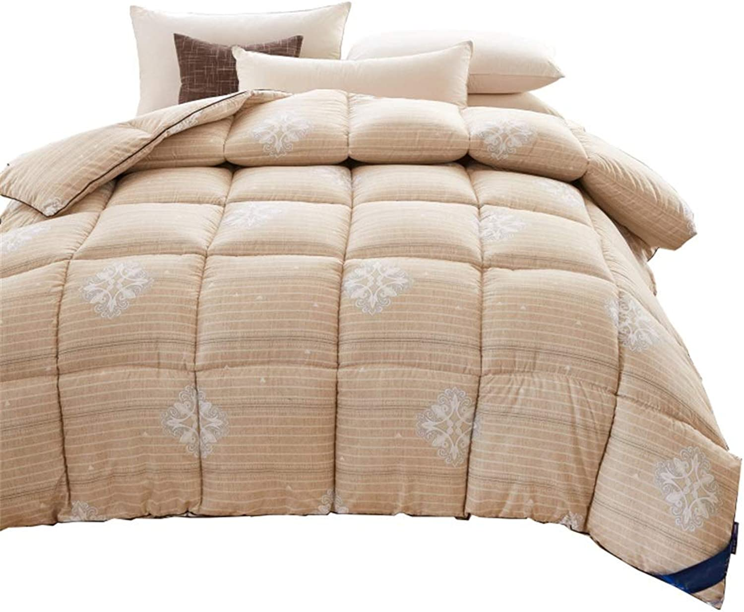 Quilt Khaki Thicken Warm and Soft for All Season All-Season Quilted Comforte Rhypoallergenic 100% Cotton Fabrics Quilted Comforter with Corner Tabs (Size   180cmx220cm3kg)