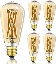 LEOOLS LED Edison Filament Amber Bulb, 100W Incandescent Equivalent, Dimmable 15W LED Edsion Bulb 2500K Warm White 1300LM, E26 Base, Decorative Vintage LED Bulbs,360 Degrees Beam Angle, Pack of 4