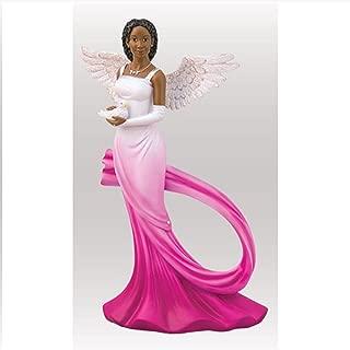 Sash Angel in Fuchsia African American Angel Statue by Ebony Treasures 11.75 inches