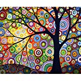 MXJSUA DIY 5D Diamond Painting by Number Kits Full Drill Rhinestone Picture Arts Craft para la decoración de la Pared del hogar Geometric Colored Tree 30x30 cm