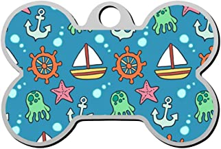 Mnxdine Cartoon Sea Anchor Octopus Starfish Sailboat Bone Shape Pet ID Tags Personalized Dog Tags Front and Back Print Name Owner Number