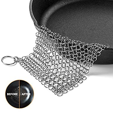 Cast Iron Cleaner, OMOCOOK XL 8x6 Inch Premium Stainless Steel Chainmail Scrubber for Cast-Iron Skillet, Pan, Wok, Griddle, Waffle Iron Pans Scraper Cast Iron Grill Scraper Skillet Scraper