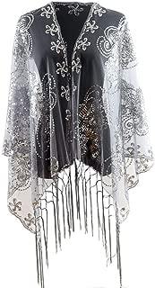 MissShorthair Women's 1920s Scarf Mesh Sequin Wedding Cape Evening Shawl Wrap