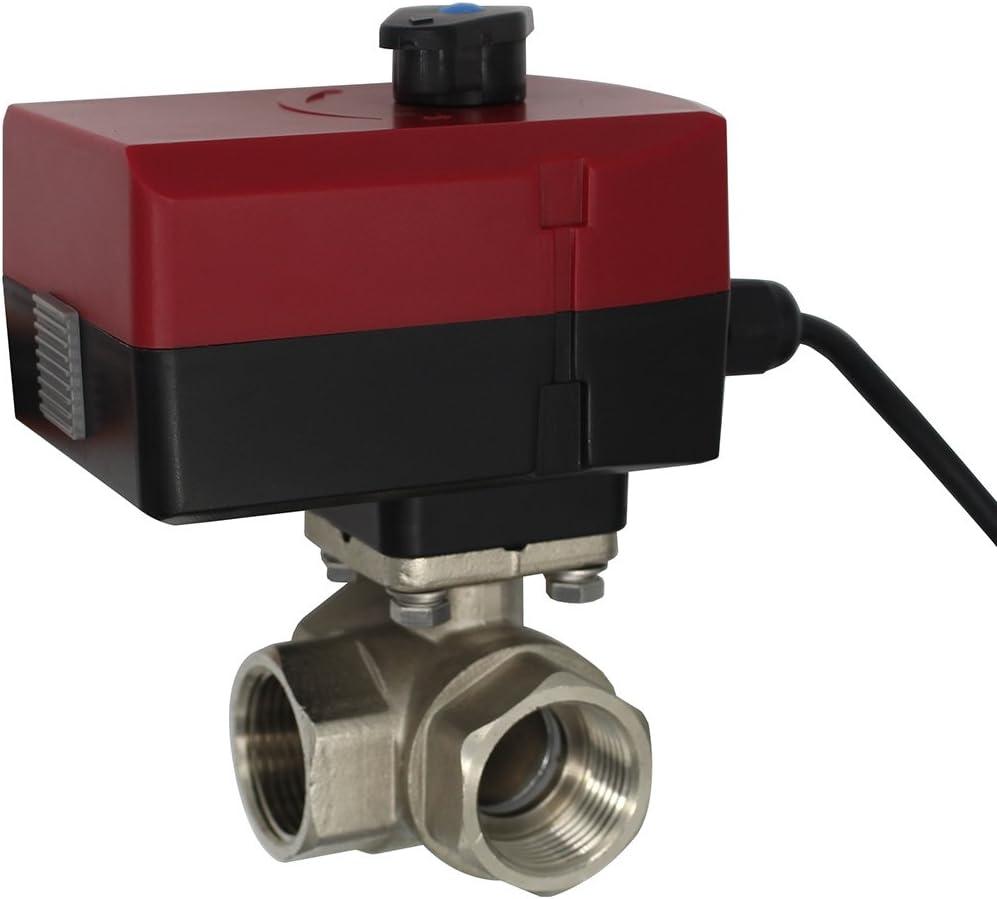 Oemclima Válvula motorizada 3 vias AC 220V 24V - Motorizada o Manual Tipo L - Valvula Esfera Bola electrico DN20 DN25 DN32 (220V DN25)