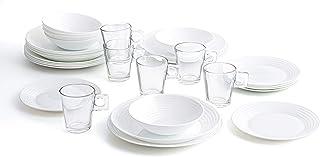 Luminarc Service de table complet pour 6 personnes 24 pièces avec 6 tasses en verre de 26 cl, opale, unique, 25 pièces