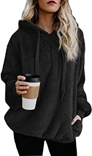 Women's Long Sleeve Hooded Fleece Sweatshirt Warm Fuzzy Zip Up Hoodie Pullover