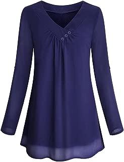 SMTSMT Women Shirt, Womens Roll-up Long Sleeve Top Casual V Neck Buttoned Layered Chiffon Blouses Beige Purple Green Dark Blue Red
