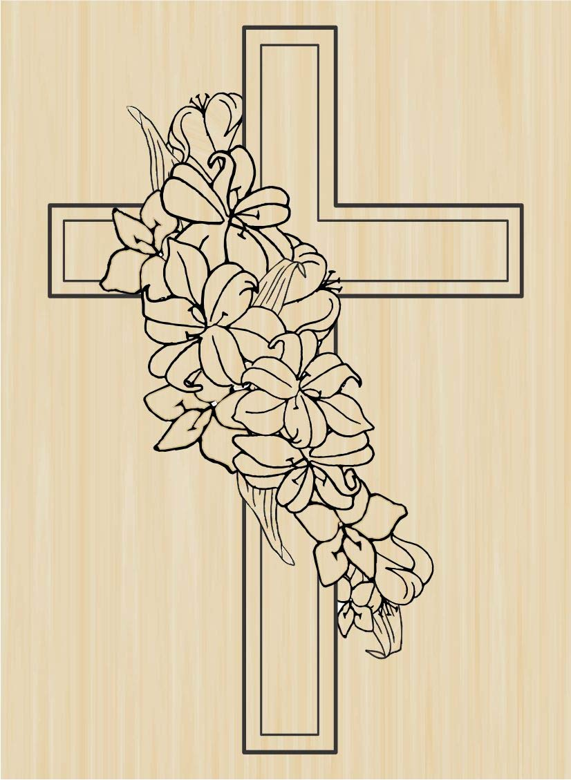 Sacred Heart Cross Rubber Stamp from Stampabilities