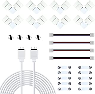 LED Strip Connector, 10mm-Wide 4 Pin L Shape Connectors, 5050 RGB 2M Strip Lights Extension Wire Cable Cord, LED Strip Sil...